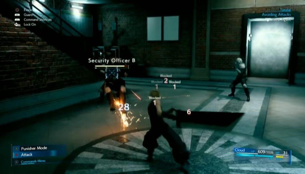 Es wird das Blocken von gegnerischen Attacken im Final Fantasy VII Remake gezeigt.