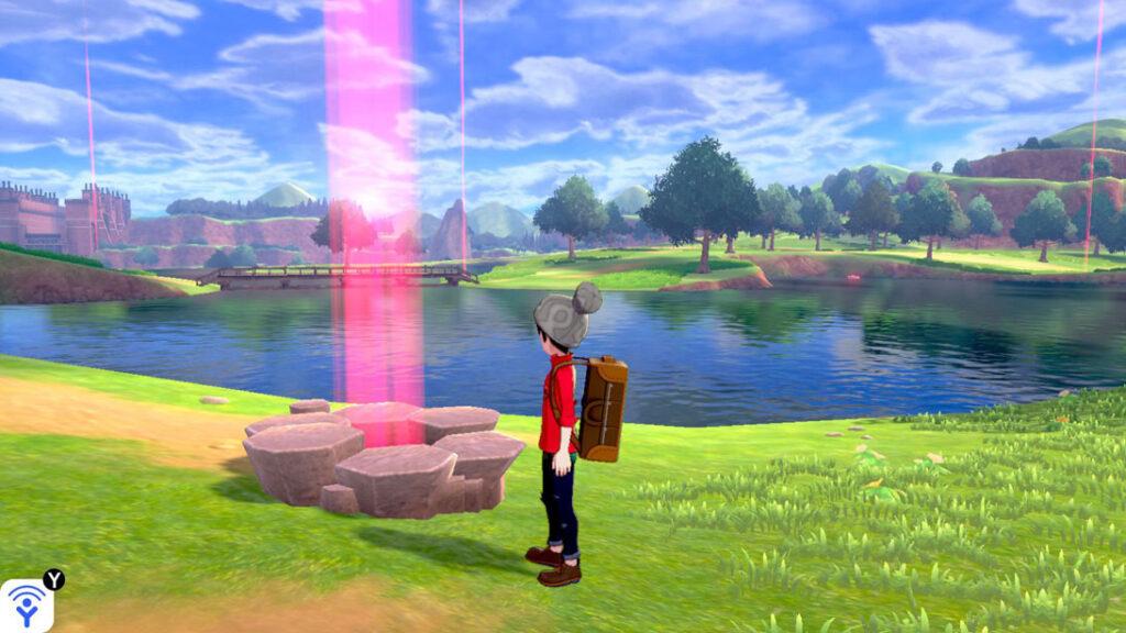 Dynamax-Pokémon verstecken sich in Nestern, welche eine rote Lichtsäule freisetzen