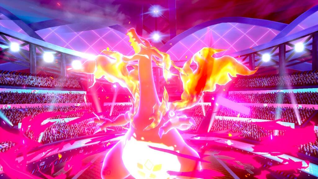 Das Bild zeigt die Dynamax-Variante von Glurak. Dieses gehört dem Champ. Pokémon Schwert und Schild.