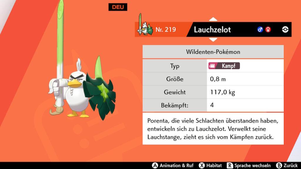 Das Foto zeigt das Pokémon Lauchzelot, welches exklusiv in Pokémon Schwert fangbar ist; Pokémon Schwert und Schild.