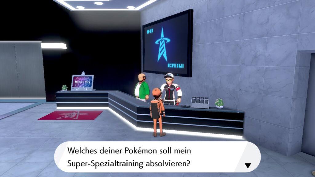 Das Foto zeigt einen Trainer, der das Super-Spezialtraining durchführt und somit alle DV-Werte eines Pokémon auf das Maximum setzt.