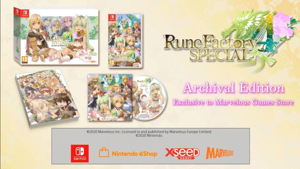 Das Bild zeigt den Inhalt der limitierten Edition zu Rune Factory 4