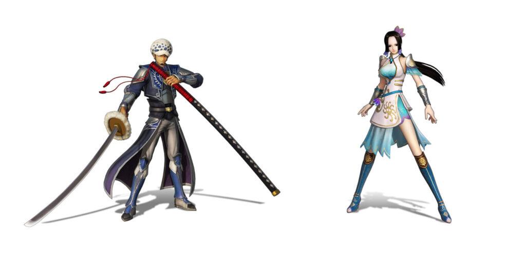 Das Bild zeigt zwei Charaktere aus One Piece: Pirate Warriors 4 in Dynasty Warriors-Kostümen.