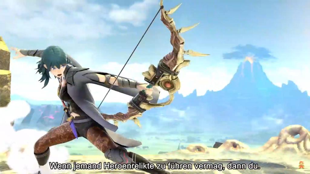 Das Bild zeigt Byleth mit einem Bogen bewaffnet. Weitere Inhalte erweitern Super Smash Bros. Ultimate.