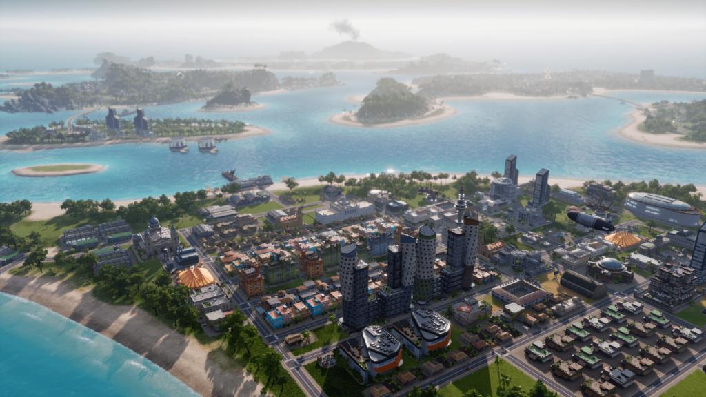 Das Bild zeigt eine besiedelte Insel in Tropico 6.