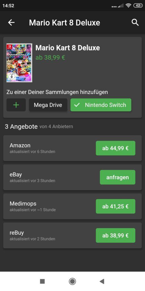 Auf dem Bild ist nach erfolgter Suche der Preisvergleich von Mario art 8 zu sehen.