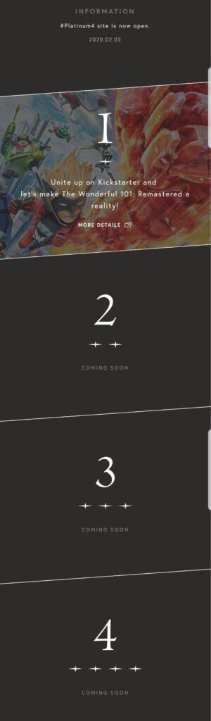 Das Bild zeigt die vier Plätze auf der Teaser-Webseite von PlatinumGames.