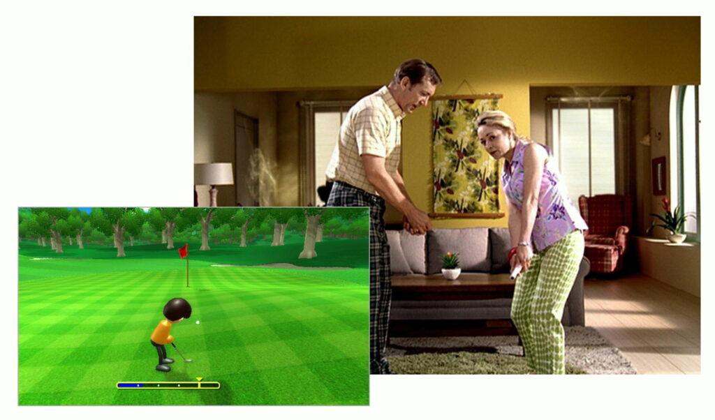 Das Bild zeigt ein Werbebild zu Wii Sports. Ein Mann und eine Frauen stehen in Golfhaltung im Wohnzimmer. Daneben siht man ein Bild vom Golfspiel.