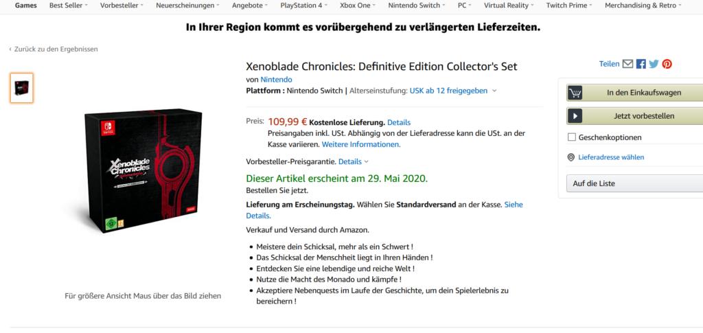 Das Bild zeigt den Produkteintrag bei Amazon. Die Collector's Edition ist nun vorbestellbar. Seid schnell
