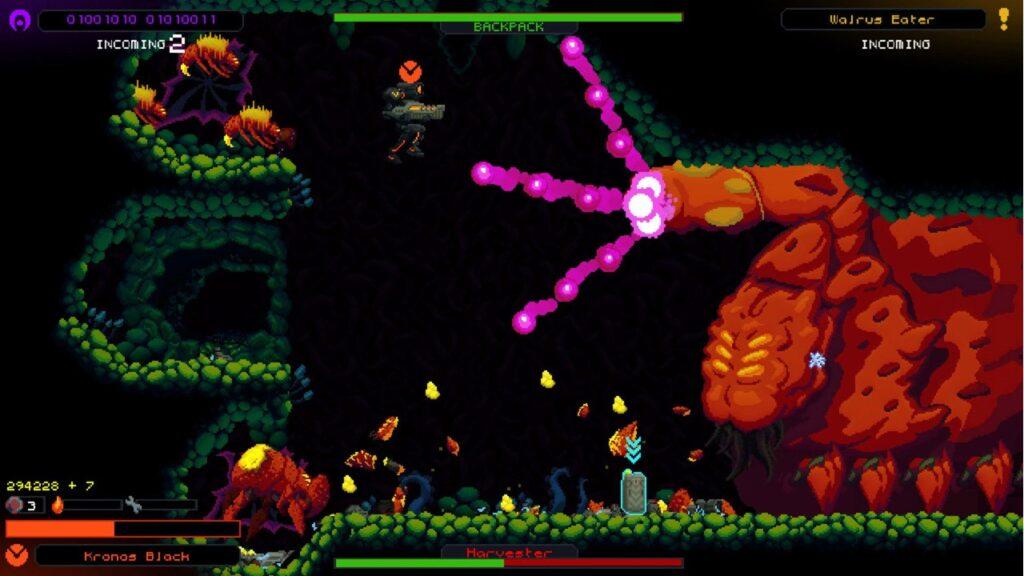 """Das Bild zeigt eine Kampfsituation aus dem game """"Hive Jump""""."""