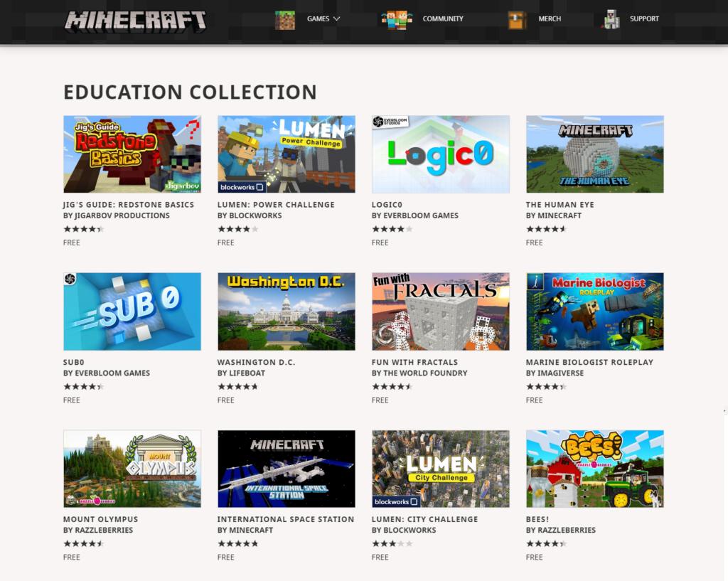 Das Bild zeigt die kostenlosen Bildungsinhalte für Minecraft von Mojang.