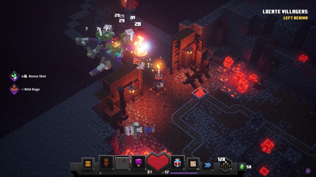 """Das Bild zeigt einen Kampf gegen Zombies im neuen """"Minecraft Dungeons""""."""