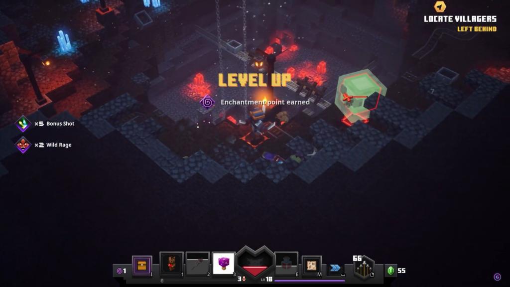 """Das Bild zeigt, wie die Hauptfigur in """"Minecraft Dungeons"""" ein Level Up erhält."""