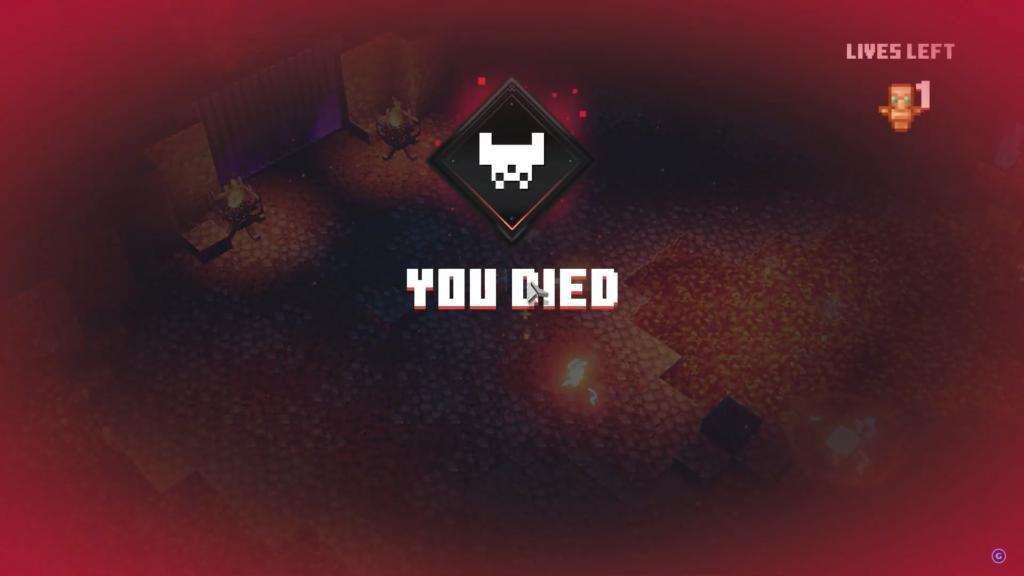 Das Bild zeigt den Game-Over-Bildschirm.