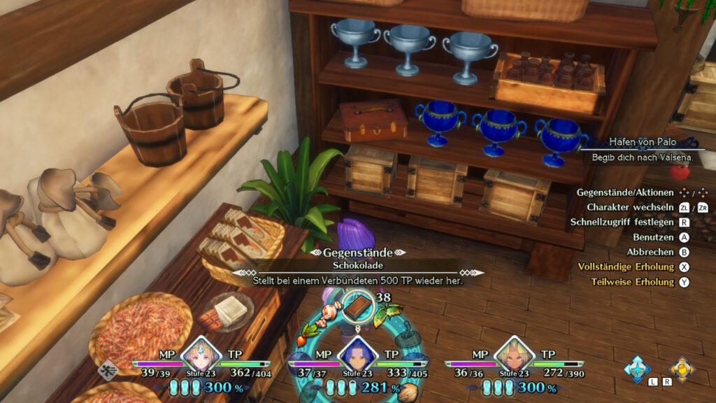 """Das Bild zeigt einige ausliegende Items im Item-Laden aus """"Trials of Mana""""."""