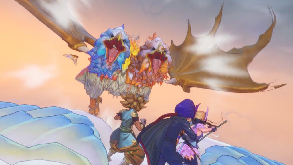 """Das Bild zeigt einen Bossgegner in der Luft aus """"Trials of Mana""""."""