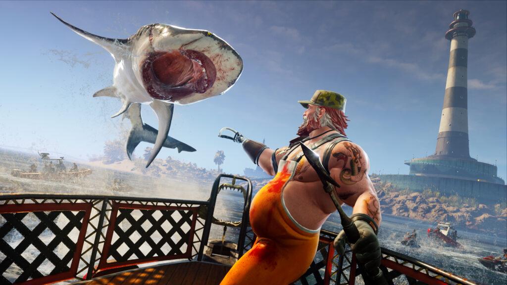 """Das Bild zeigt einen springend angreifenden Hai in """"Maneater""""."""