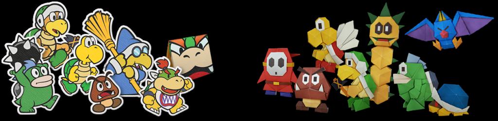 """Das Bild zeigt viele Schergen aus """"Paper Mario: The Origami King""""."""
