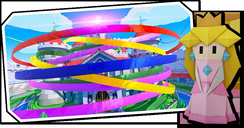 """Das Bild zeigt Origami-Peach und ihr in Luftschlangen gehülltes Schloss aus """"Paper Mario: The Origami King""""."""