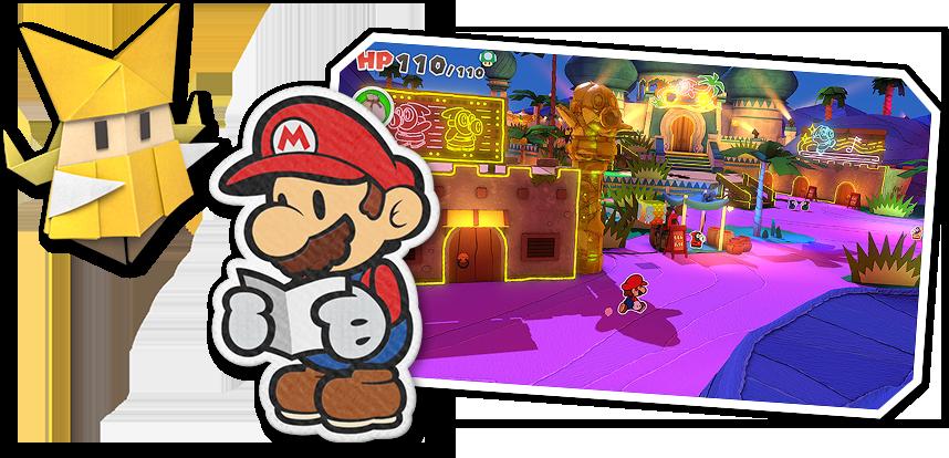 """Das Bild zeigt Paper Mario und seine neue Gefährtin Olivia aus """"Paper Mario: The Origami King""""."""