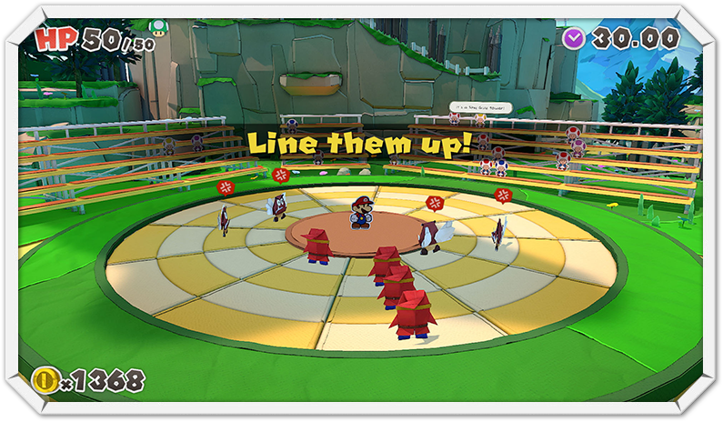 """Das Bild zeigt Paper Mario innerhalb eines Bosskampfes in """"Paper Mario: The Origami King"""" umringt von Feinden."""