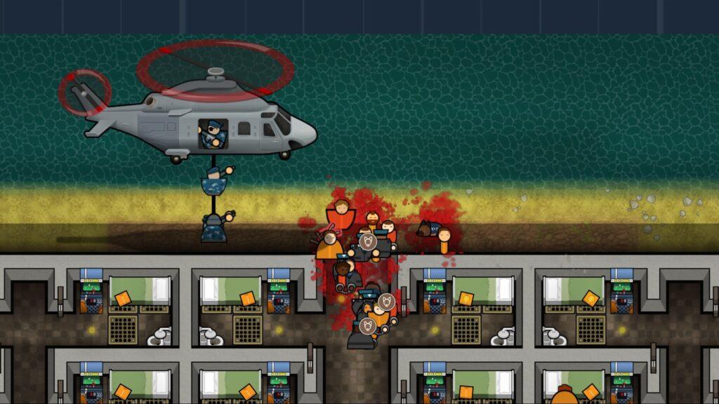 """Das Bild zeigt einen Massenausbruch bei """"Prison Architect: Island Bound""""."""