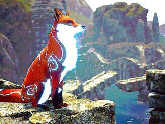 """Das Bild zeigt den Hauptcharakter in """"Spirit of the North"""". Der rote Fuchs steht über dem Wasser thronend auf einem Fels."""