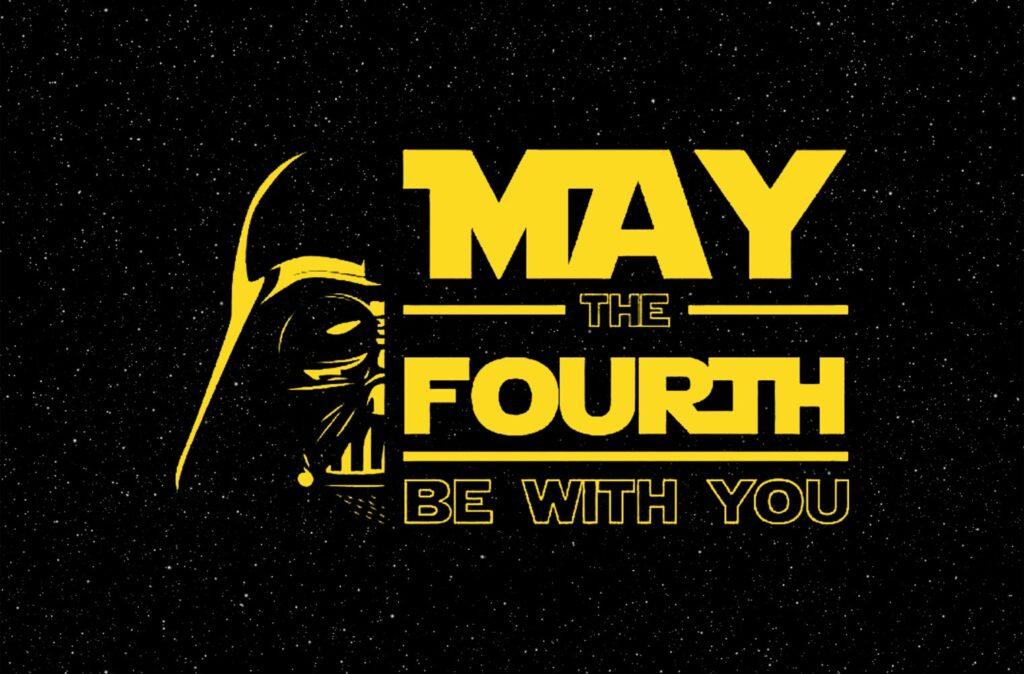 Das Bild zeigt den bekanntesten Spruch aus Star Wars: May the Fourth be with you. Anlässlich des Star Wars-Tages am 04. Mai kommt es zu einem Crossover zwischen Fortnite und Star Wars.