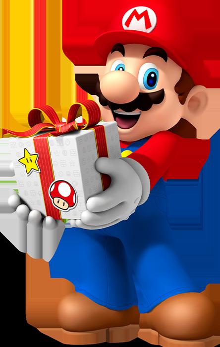 """Das Bild zeigt Mario mit Geschenk in Händen im Bezug auf den """"Nintendo Switch"""" Jahresbilanz-Beitrag"""