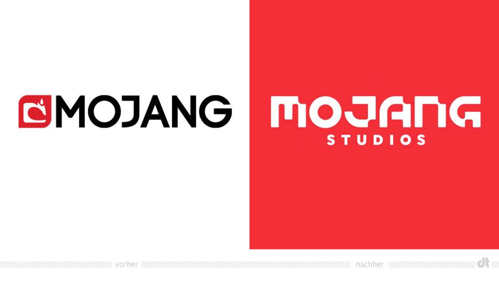 """auf dem Bild ist das Logo von Mojang zu sehen. Auf der linken Seite das Alte und auf der rechten Seite das Neue mit aktualisiertem Namen """"Mojang Studios"""