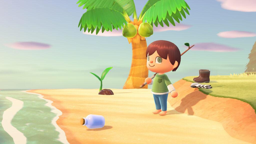 """Das Bild zeigt eine Flaschenpost in """"Animal Crossing: New Horizons""""."""