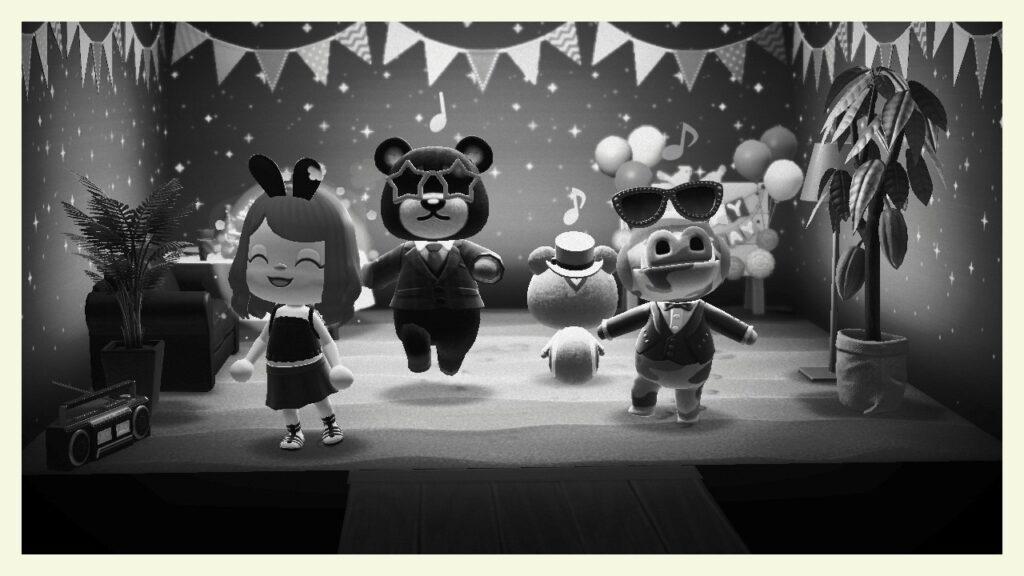 """Das Bild zeigt die Überraschungsparty in """"Animal Crossing: New Horizon""""."""