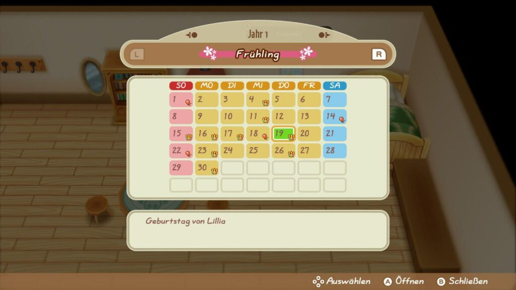 "Das Bild zeigt den Kalender in ""Story of Seasons: Friends of Mineral Town""."