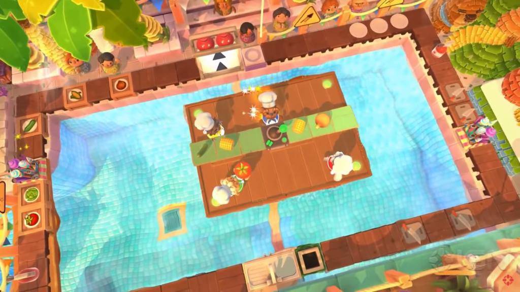 """Das Bild zeigt ein Level aus dem neuen DLC von """"Overcooked 2"""". Dieser heißt """"Sun's Out Buns Out""""."""