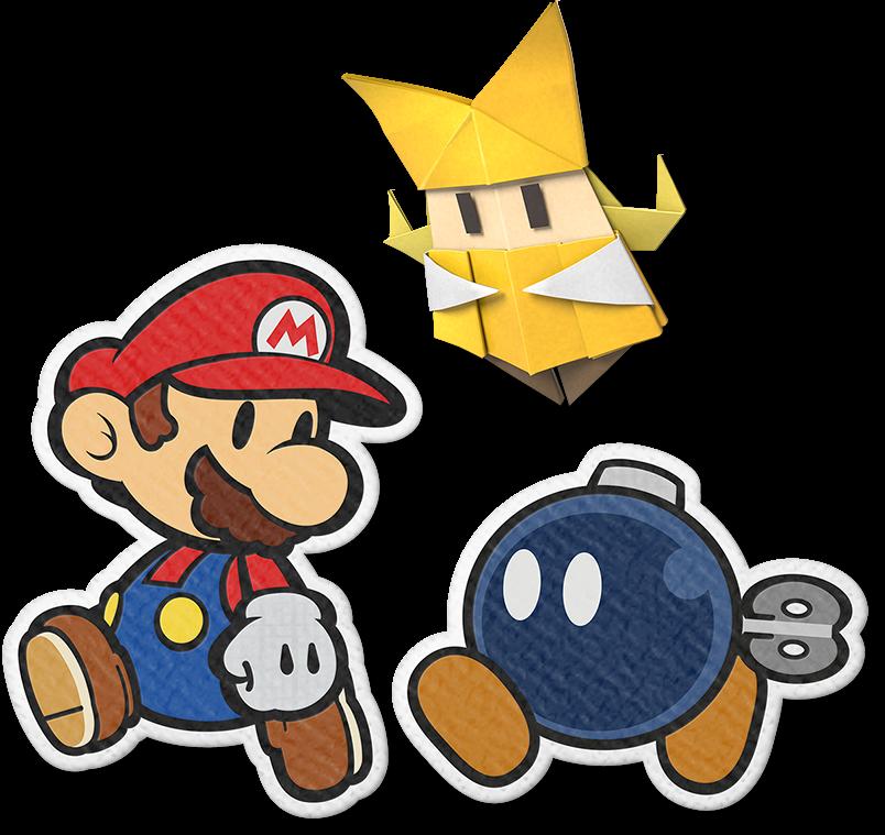 """Das Bild zeigt Paper Mario gemeinsam mit Olivia und Bob-omb. Es handelt sich um Charaktere aus dem Spiel """"Paper Mario: The Origami King""""."""