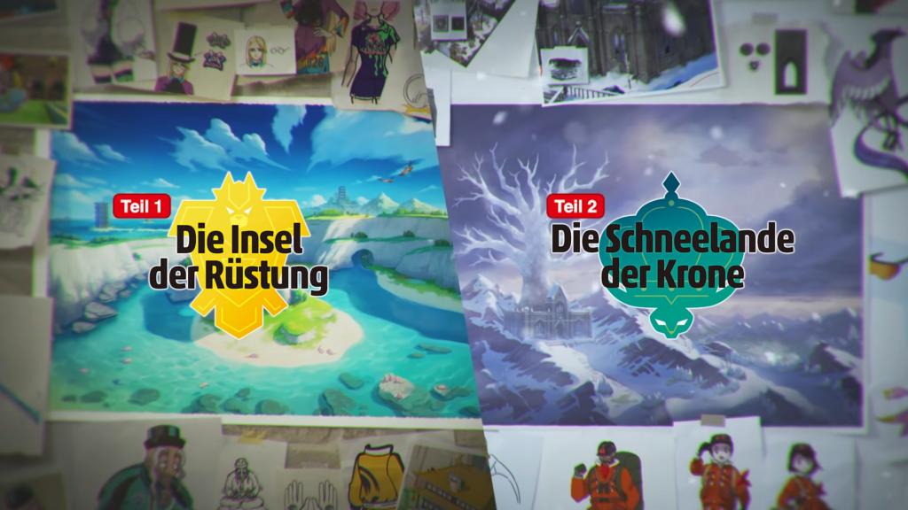 """Das Bild zeigt eine Gegenüberstellung der beiden DLCs """"Die Insel der Rüstung"""" und """"Die Schneelande der Krone"""" für """"Pokémon Schwert und Schild""""."""