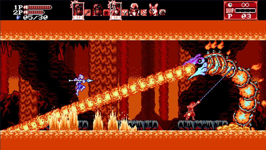 """Das Bild zeigt, wie zwei Spieler gemeinsam in """"Bloodstained: Cruse of the Moon 2"""" gegen einen Gegner kämpfen."""
