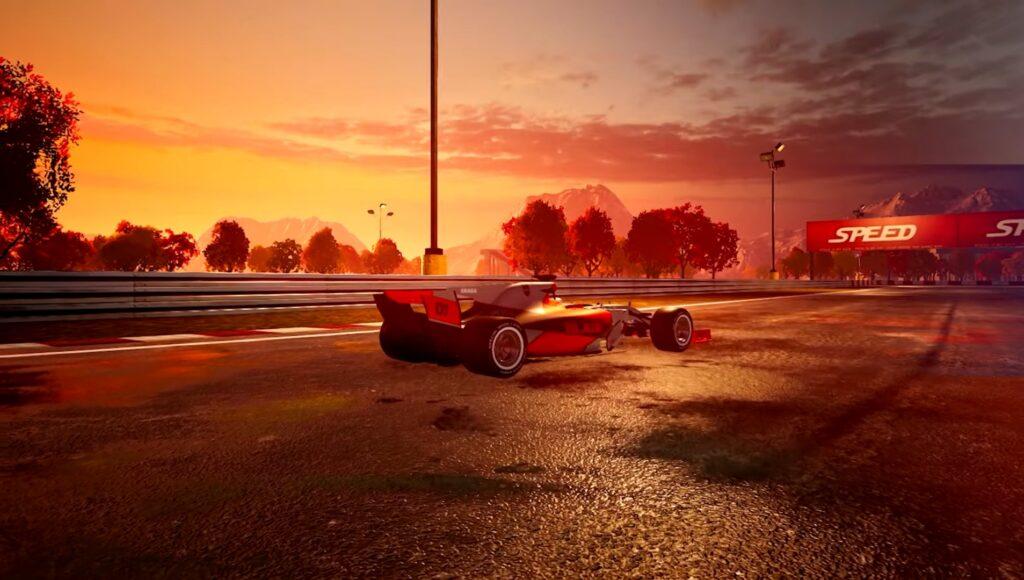 """Das Bild zeigt ein Formel 1-Bolide bei Sonnenuntergang in """"Speed 3: Grand Prix""""."""
