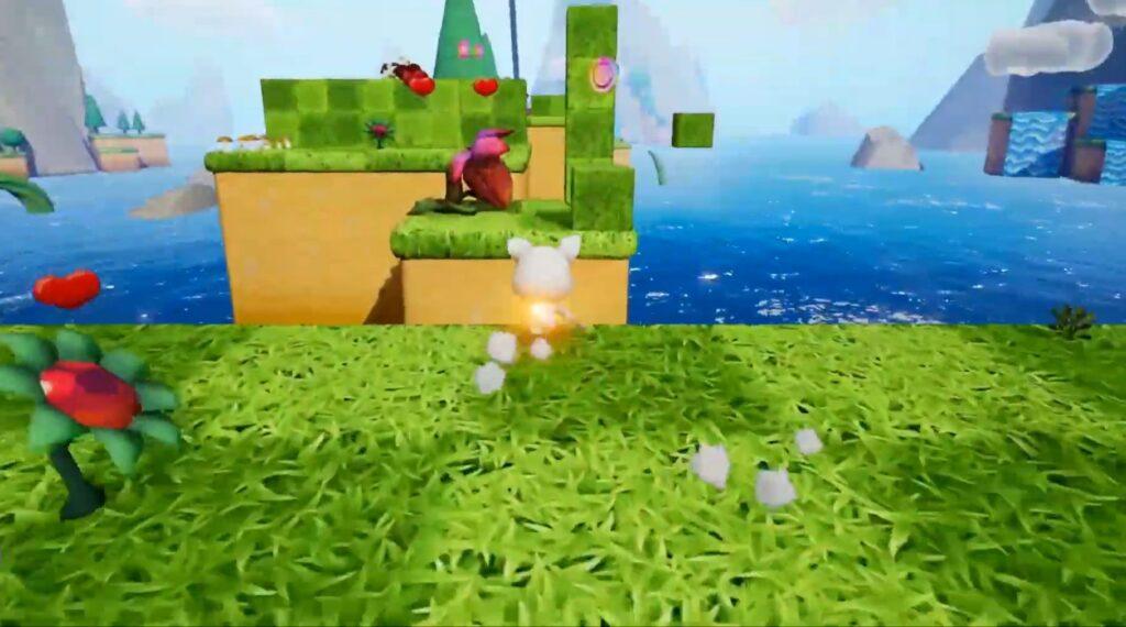 """Das Bild zeigt die 3D-Perspektive in """"Neko Ghost, Jump!""""."""
