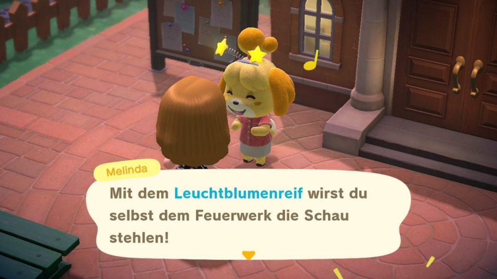 """Das Bild zeigt Melinda während des Feuerwekrs in """"Animal Crossing: New Horizons""""."""
