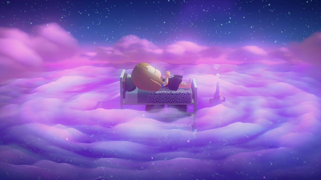 "Das Bild zeigt die Schlummer-Funktion in ""Animal Crossing: New Horizons""."