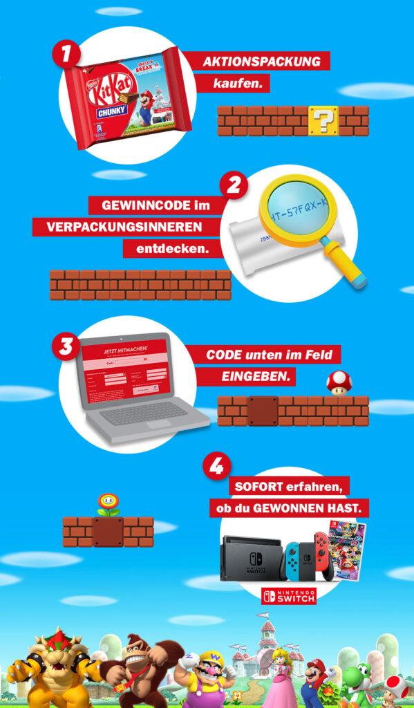 Das Bild zeigt die Anleitung zur Teilnahme am Play & Break-Gewinnspiel.