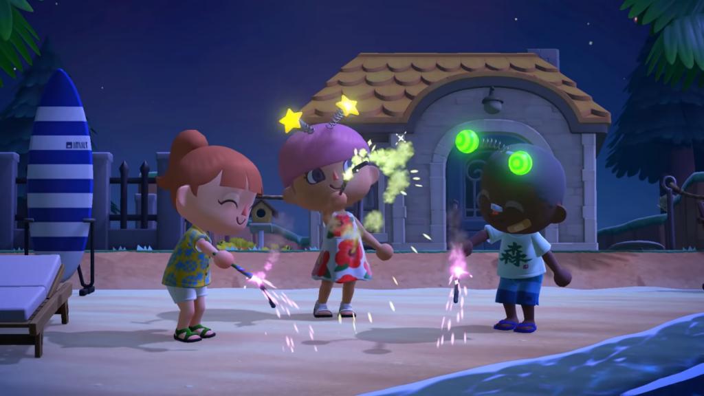 """Das Bild zeigt die Wunderkerzen in """"Animal Crossing: New Horizons""""."""