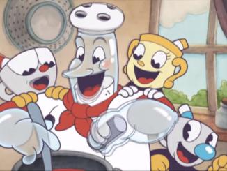 Das Bild zeigt die drei Protagonisten aus Cuphead: The Delicious Last Course
